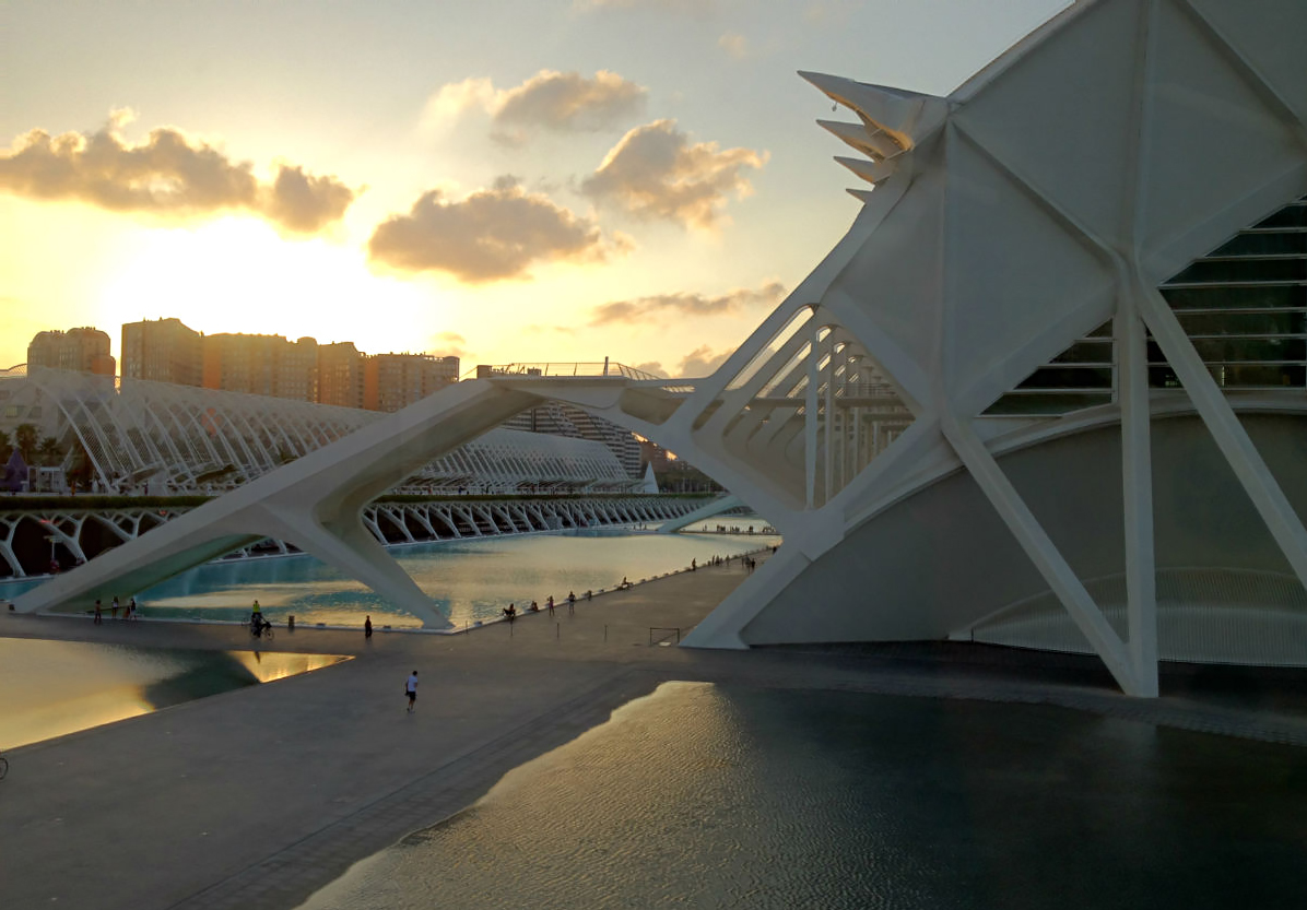 Sunset over the the city of arts and sciences, Valencia, Spain.