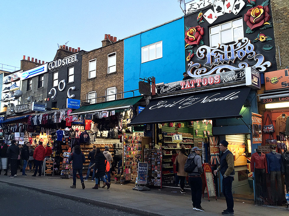 The familiar-with-a-photograph facades of Cold Steel and Evil by the Needle - Camden Town, London England - Tily Travels.