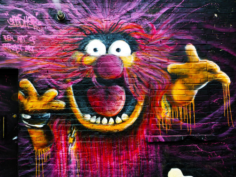 Animal (muppet) by Gnasher, Hawley Mews, Camden Town - Camden Town Street Art, London England - Tily Travels.