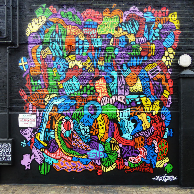 Abstract work by Onio, Hawley Mews, Camden Town - Camden Town Street Art, London England - Tily Travels.