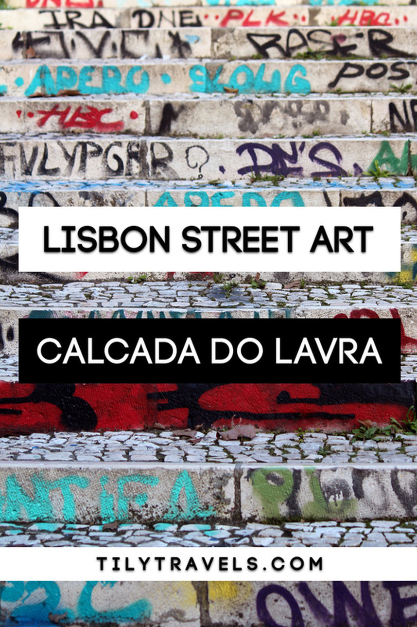 Graffiti covered stairs on Calcada do Lavra, Lisbon, Portugal - Calçada do Lavra street art - www.tilytravels.com