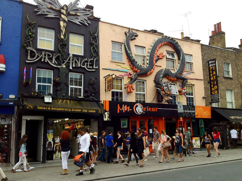 The decorative shop facades of Dark Angel Tattoo & Body Piercing and Max Orient - Camden Town, London England - Tily Travels.