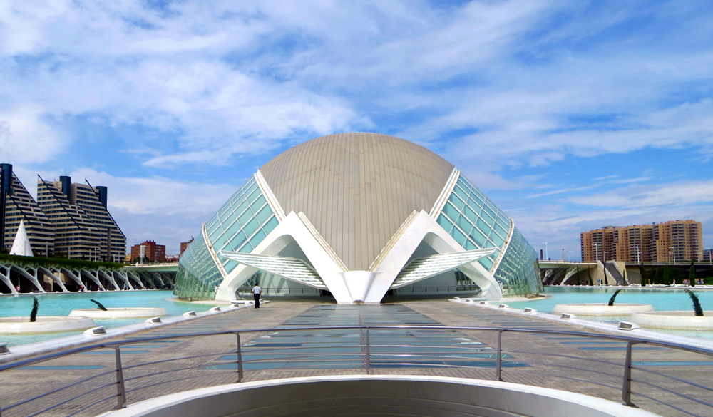 Futuristic architecture, L'Hemisfèric, City of Arts and Sciences, Valencia, Spain.
