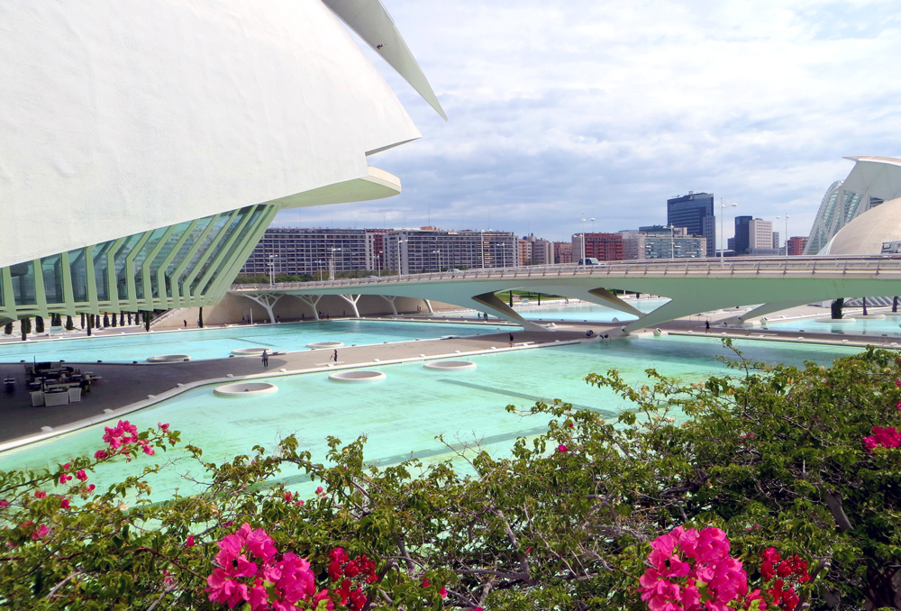 El Palau de les Arts Reina Sofia and surrounding aqua water, City of Arts and Sciences, Valencia, Spain.