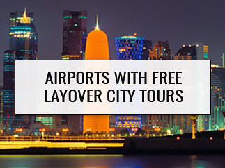 Doha skyline, airports with free layover city tours.