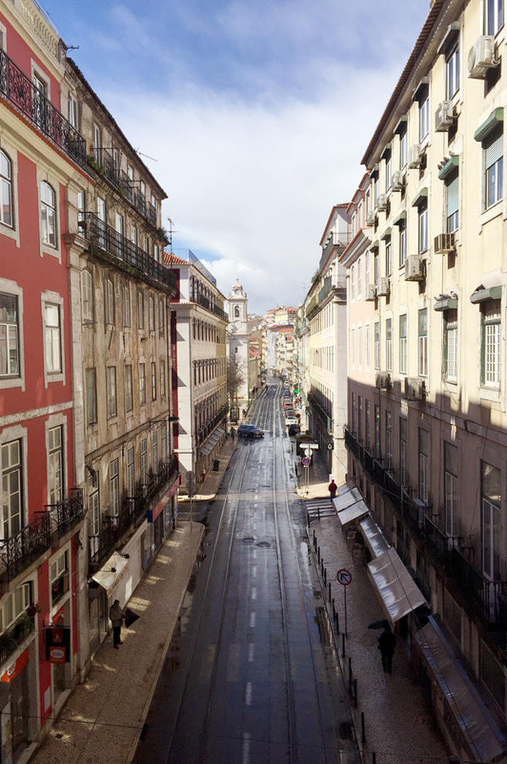An almost deserted Rua de São Paulo in Lisbon's Barrio Alto district - Portugal.
