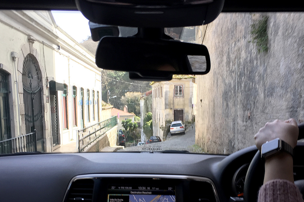 Inside the Jeep driving through the narrow streets of Sintra. - The Fairytale Historic Centre of Sintra, Portugal - www.tilytravels.com
