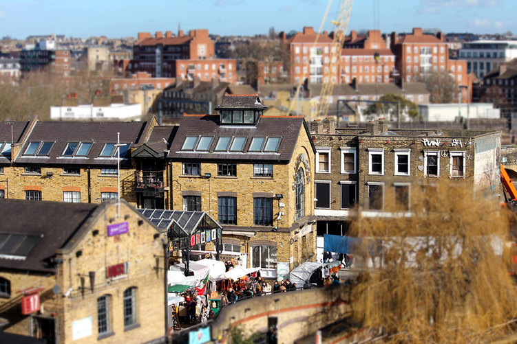 A tilt-shift image of the Camden Lock Market and the old facade of the Camden Lock Village - Camden Market, Camden Town, London - Tily Travels.