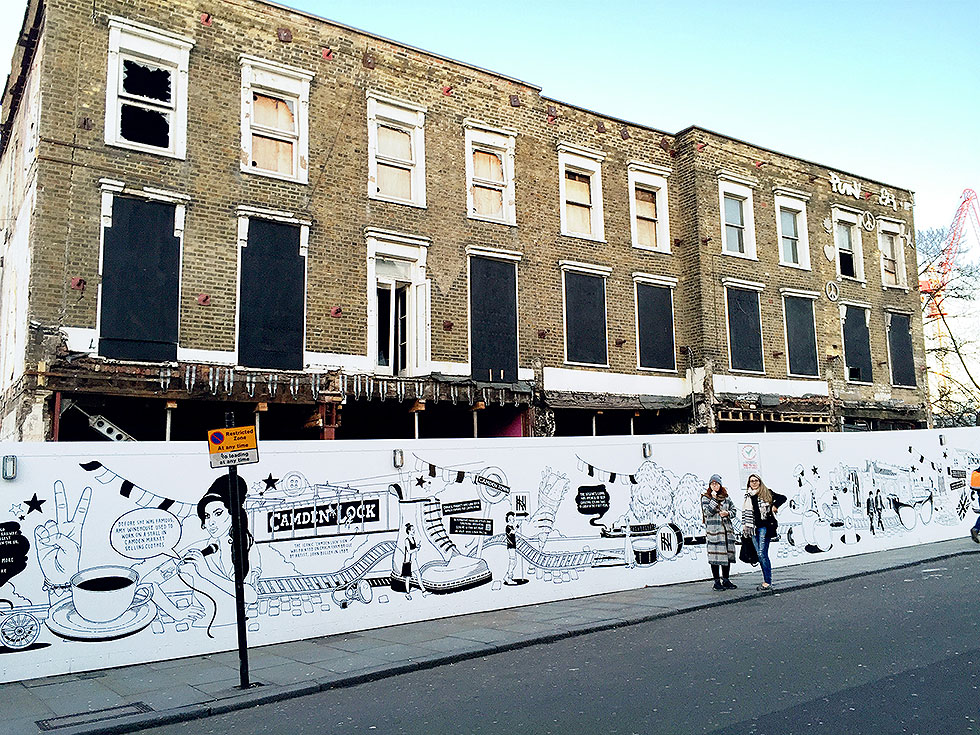 The street facade, all that remains of the now demolished Camden Lock Village - Camden Market, Camden Town, London - Tily Travels.