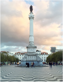 Rossio Square (Pedro IV Square) - Column of Pedro IV and patterned pavement - Pombaline-Baixa, Lisbon - Portugal.