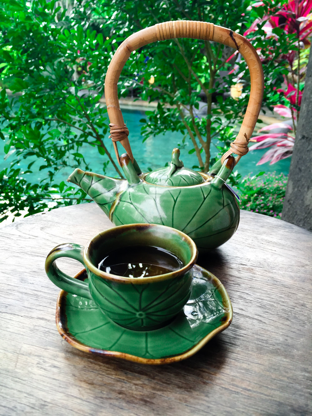Complimentary tea at Radha Spa. Dwaraka, the Royal Villas, Ubud, Bali, Indonesia.