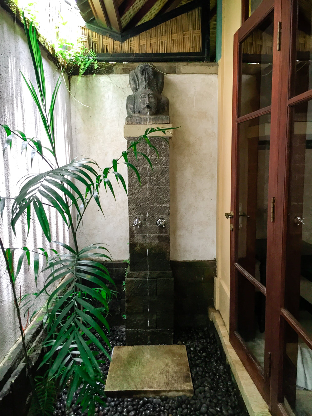 One of two outdoor showers. Dwaraka, the Royal Villas, Ubud, Bali, Indonesia.