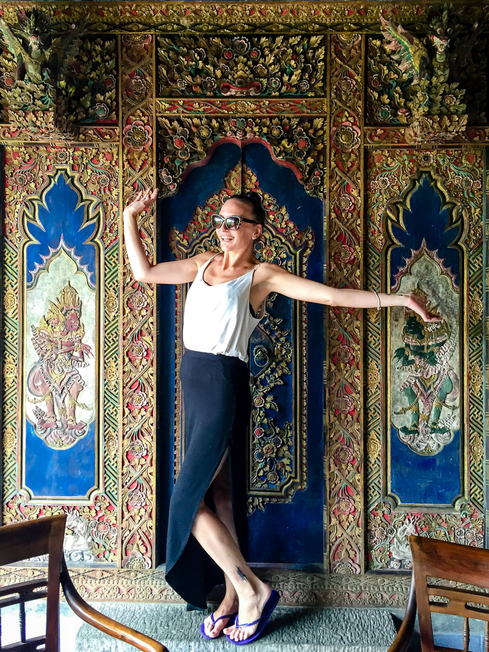 The opulent doorway featured in the Lobby. Dwaraka, the Royal Villas, Ubud, Bali, Indonesia.