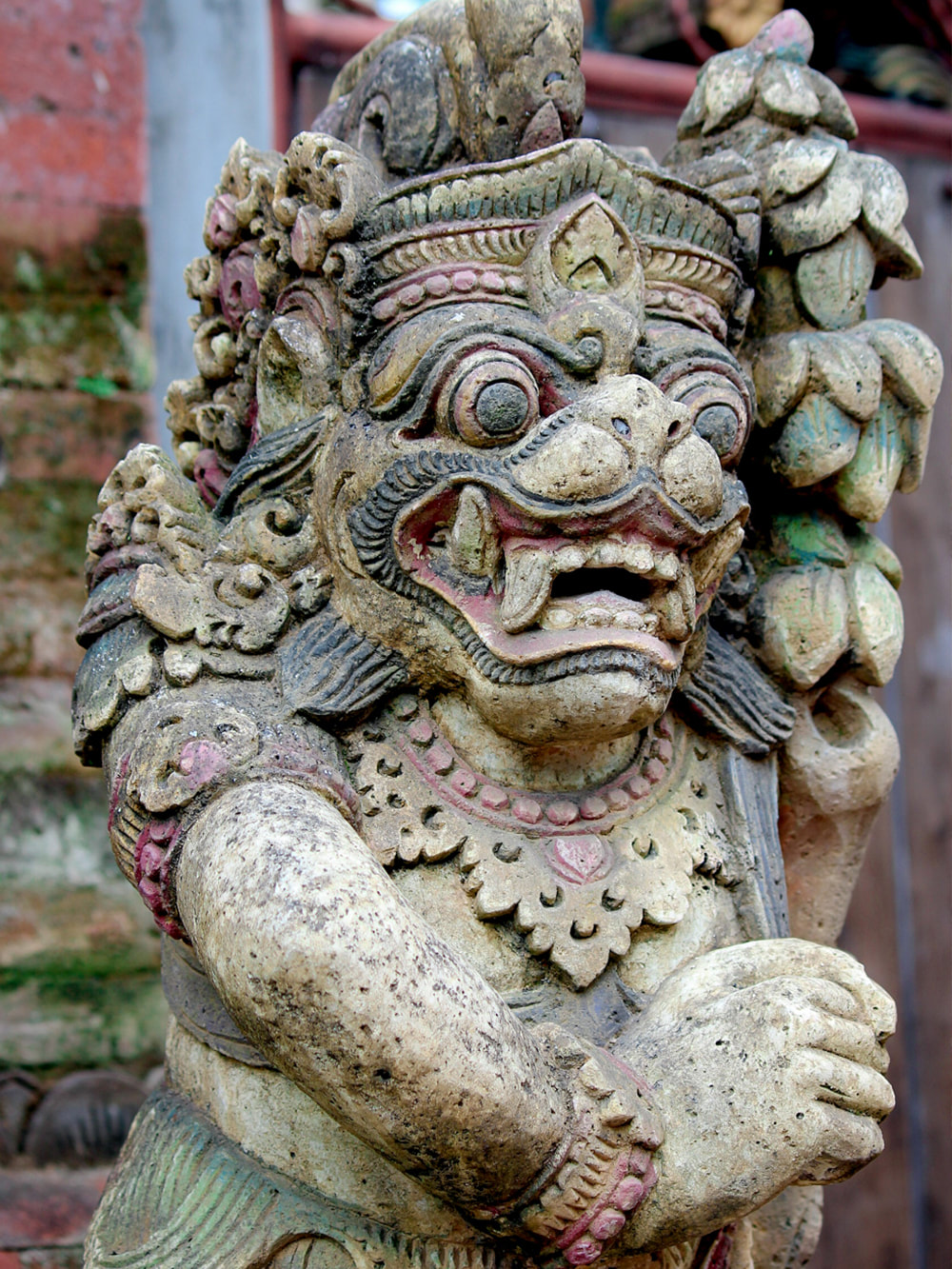 One of many Balinese stone statues found around the property. Dwaraka, the Royal Villas, Ubud, Bali, Indonesia.