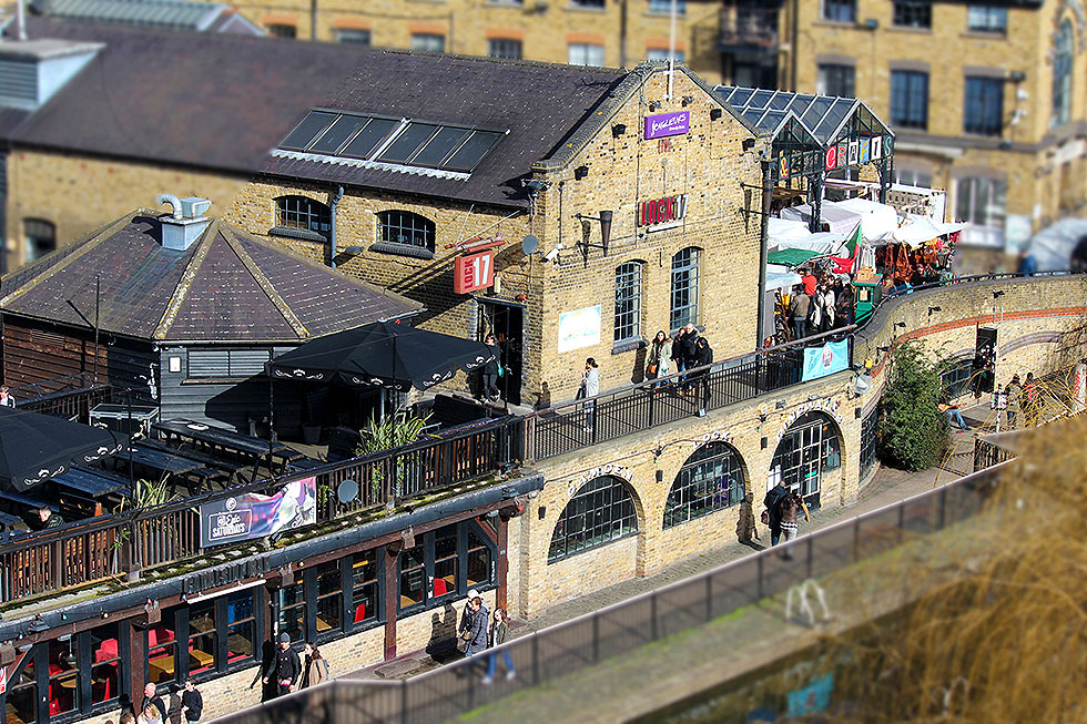 A tilt-shift image of the Camden Lock Market and Lock 17, taken from my balcony at the Holiday Inn - Camden Market, Camden Town, London - Tily Travels.