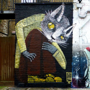 Cat by Goms, Hawley Mews, Camden Town - Camden Town Street Art, London England - Tily Travels.