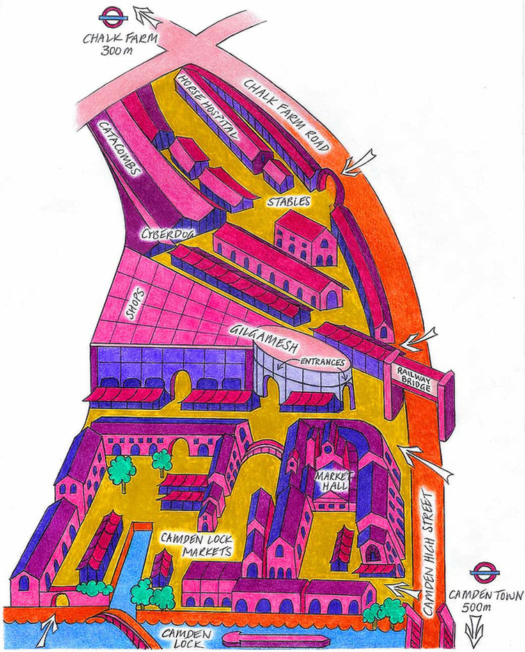 Hand drawn Camden Market map via camdenmarkets.org