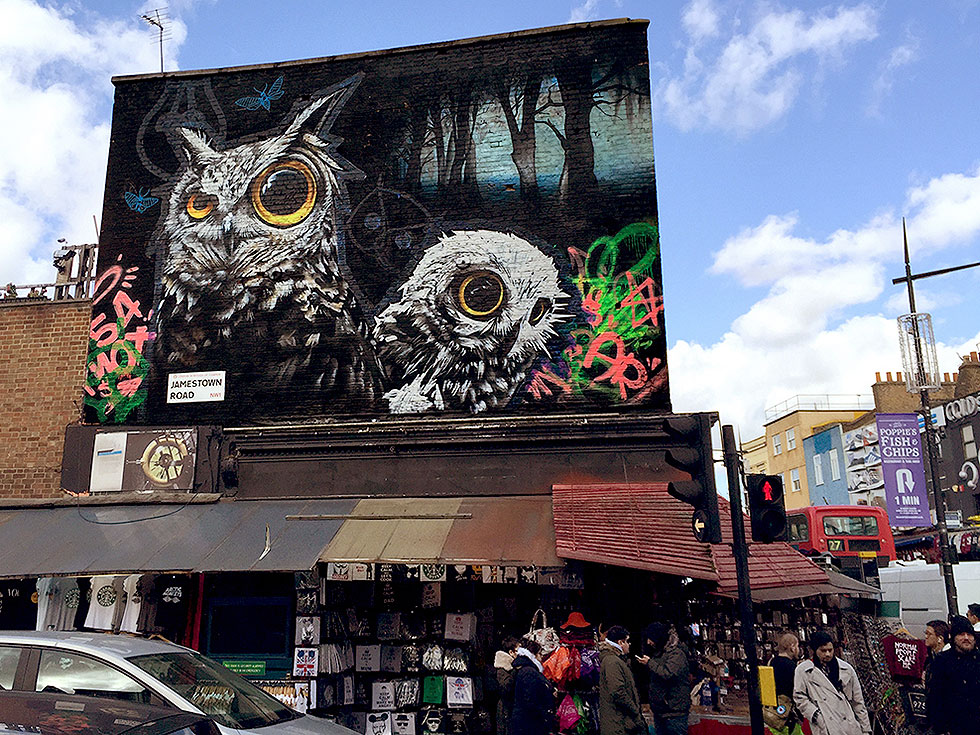 Ultra Violet Owls, street art by Oliver Switch - Camden Market, Camden Town, London - Tily Travels.