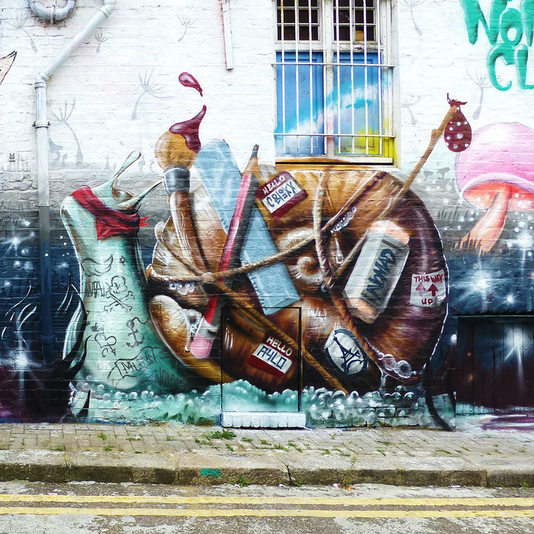 Camden Snail by Nomad Clan duo Aylo and CBloxx, Hawley Mews, Camden Town - Camden Town Street Art, London England - Tily Travels.