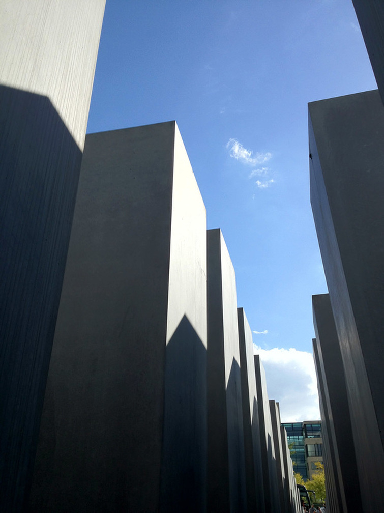 Holocaust Memorial, Berlin, Germany - Looking up from the center of the columns.