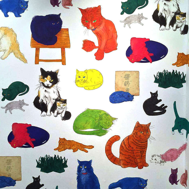 Andy Warhol & Ai Weiwei Exhibition at NGV - Studio Cats wallpaper by Ai Weiwei - Tily Travels.