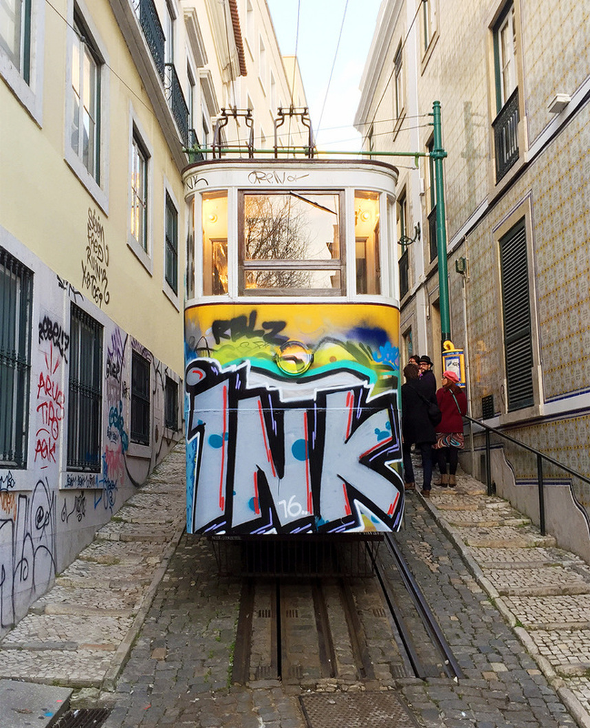 The Ascensor do Lavra (Lavra Tram) covered in graffiti (ink) on Calçada do Lavra, Lisbon, Portugal. Street art Lisbon.