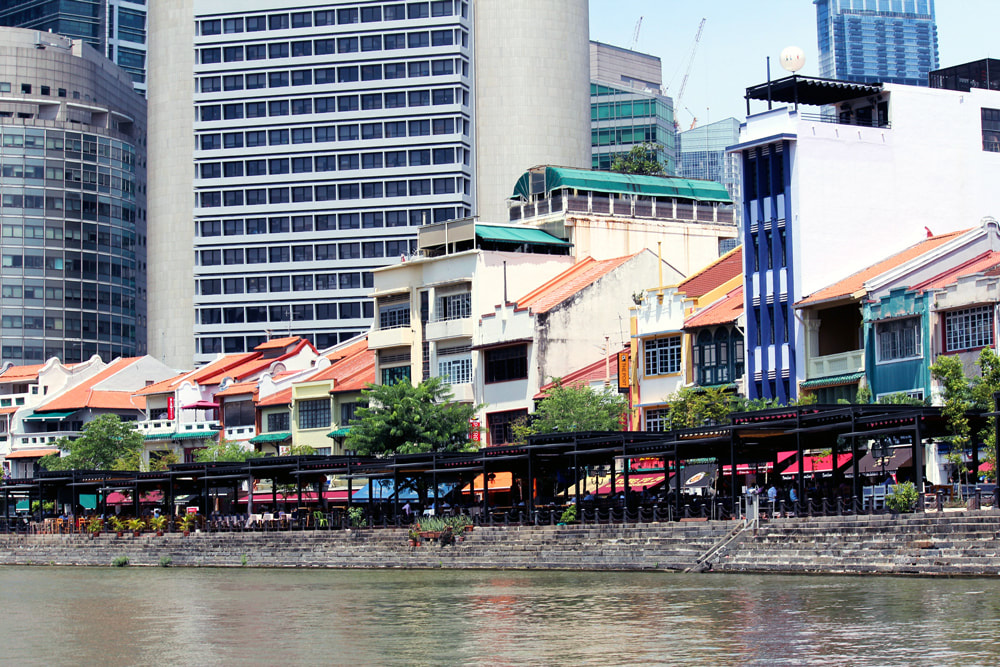 A view of Boat Quay from the Singapore River.