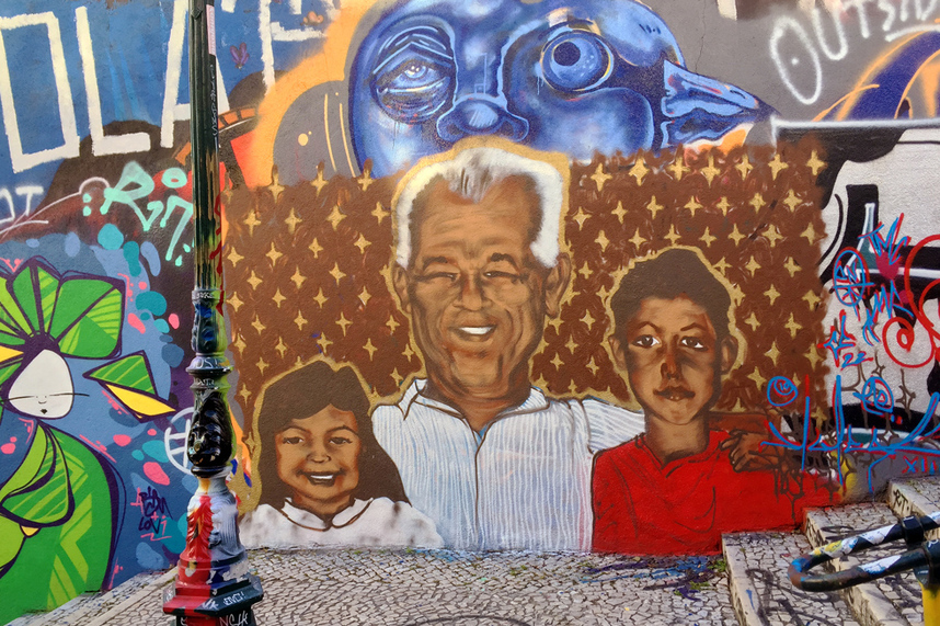 Family portrait by unknown artist - Street art and graffiti in Calcada do Lavra stairway, Lisbon, Portugal - Calçada do Lavra street art.
