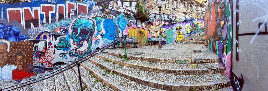 Street art and graffiti covered Calcada do Lavra stairway, Lisbon, Portugal - Calçada do Lavra street art.