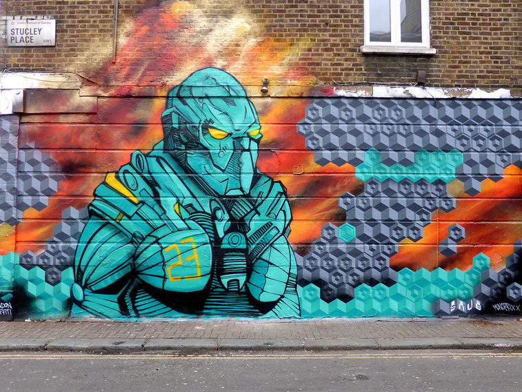 Mongrel vs 2000ad by Snub23, Stucley Place, Camden Town - Camden Town Street Art, London England - Tily Travels.