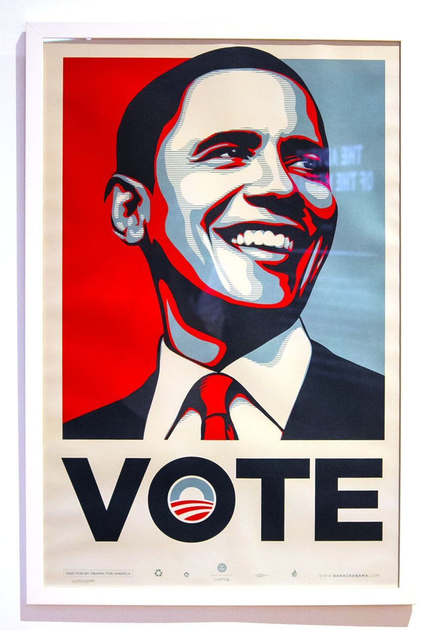Singapore: Art From The Streets Exhibition at the ArtScience Museum - Vote Obama - Shepard Fairey (Obey) - 2008.