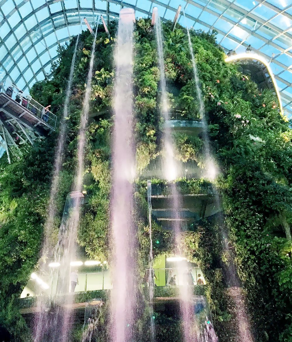 The waterfall inside the Cloud Forest at Gardens by the Bay in Singapore.