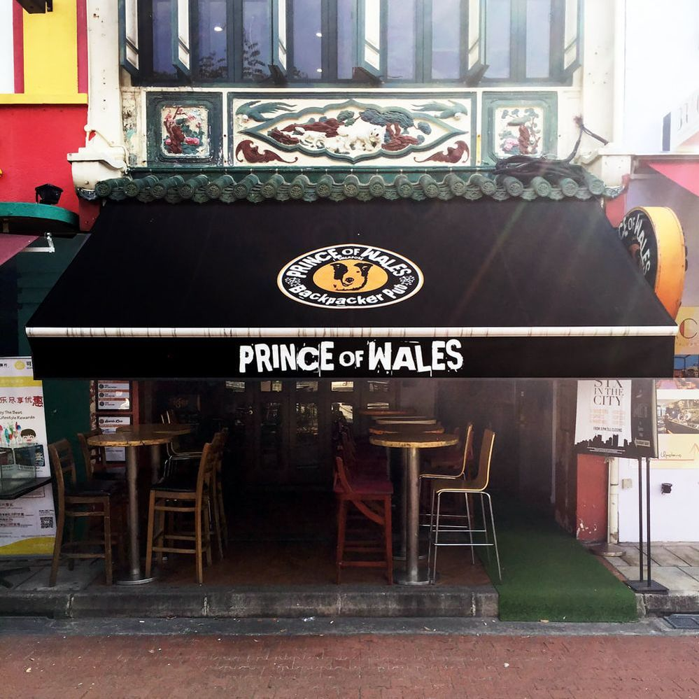 Exterior of the Prince of Wales Backpacker Pub, Boat Quay, Singapore