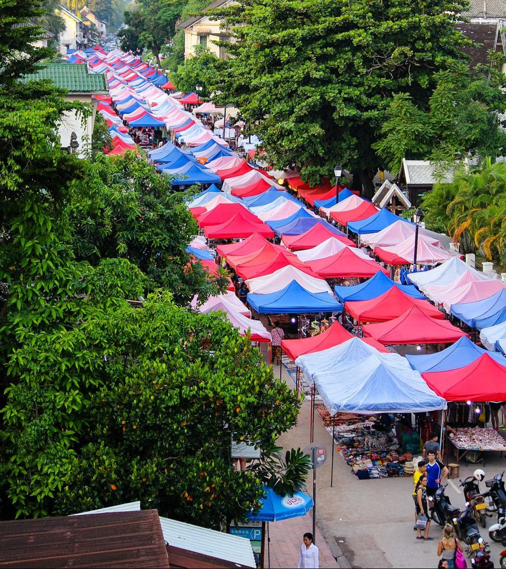 A view of the Luang Prabang Night Market from the rooftop bar at Indigo Cafe. Laos.