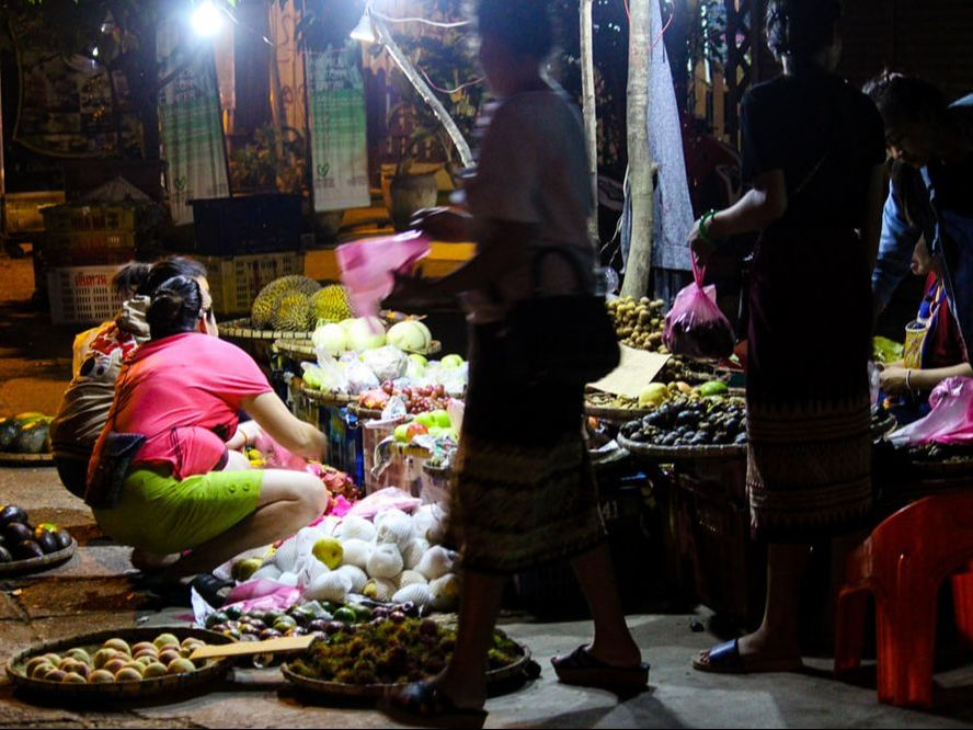 A fruit stalls at the beginning of Food Street/ Street Food Market, Luang Prabang, Laos.