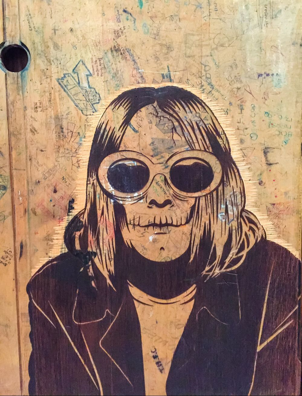 Singapore: Art From The Streets Exhibition at the ArtScience Museum - Kurt Cobain detail of Retired Stencil Cluster - D*Face - 2000-2017.