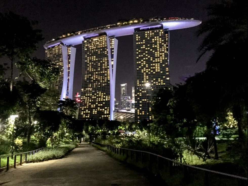 The Spaceship has landed. The Marina Bay Sands Hotel at night. Singapore.