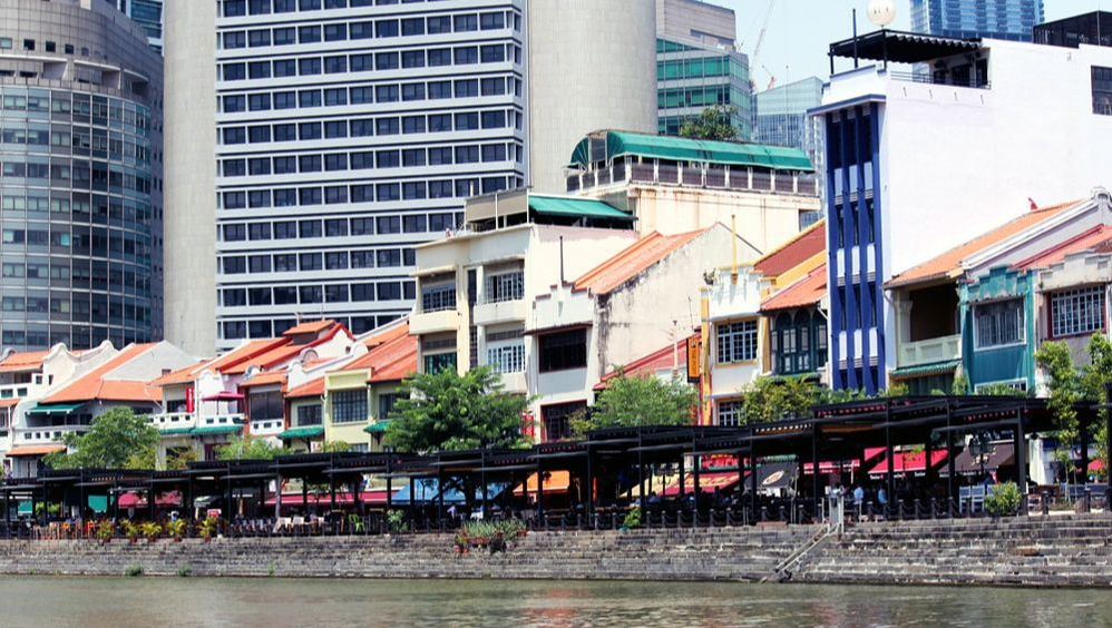 Boat Quay view from the Singapore River - Singapore River Cruise