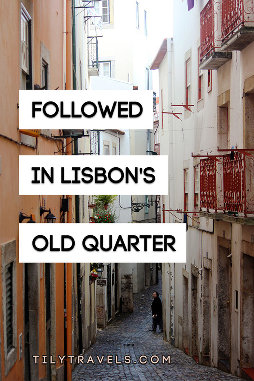 The narrow back streets of the Alfama district - Followed in Lisbon's Old Quarter - www.tilytravels.com