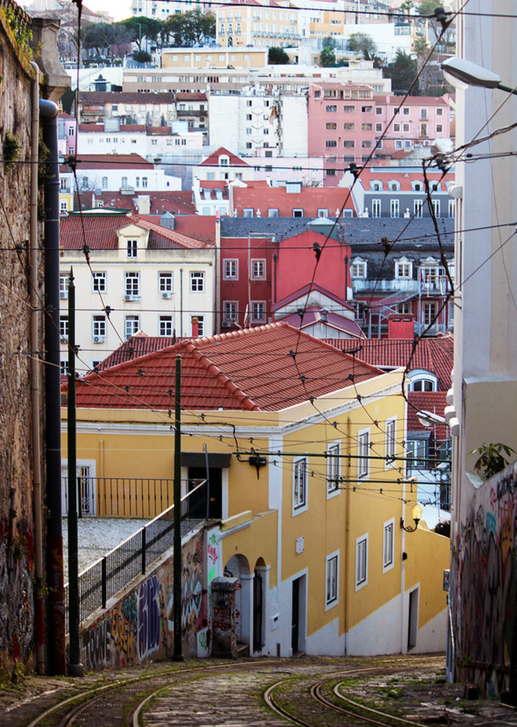 The view of homes built on the hills of Lisbon from Calçada do Lavra - Lisbon - Portugal.