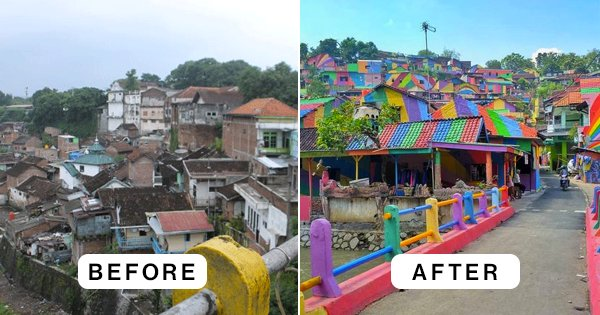 Colourful Kampung Pelangi (The Rainbow Village) Photo Diary.Before and after. Wonosari, Semarang, Java, Indonesia.