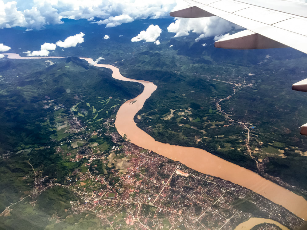 Flying over the Mekong River on arrival into Luang Prabang, Laos. AirAsia Flight 617.