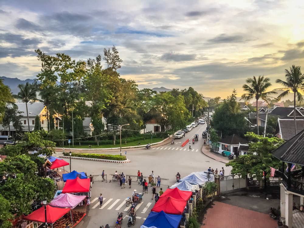 The entrance to the Luang Prabang night market at sunset.