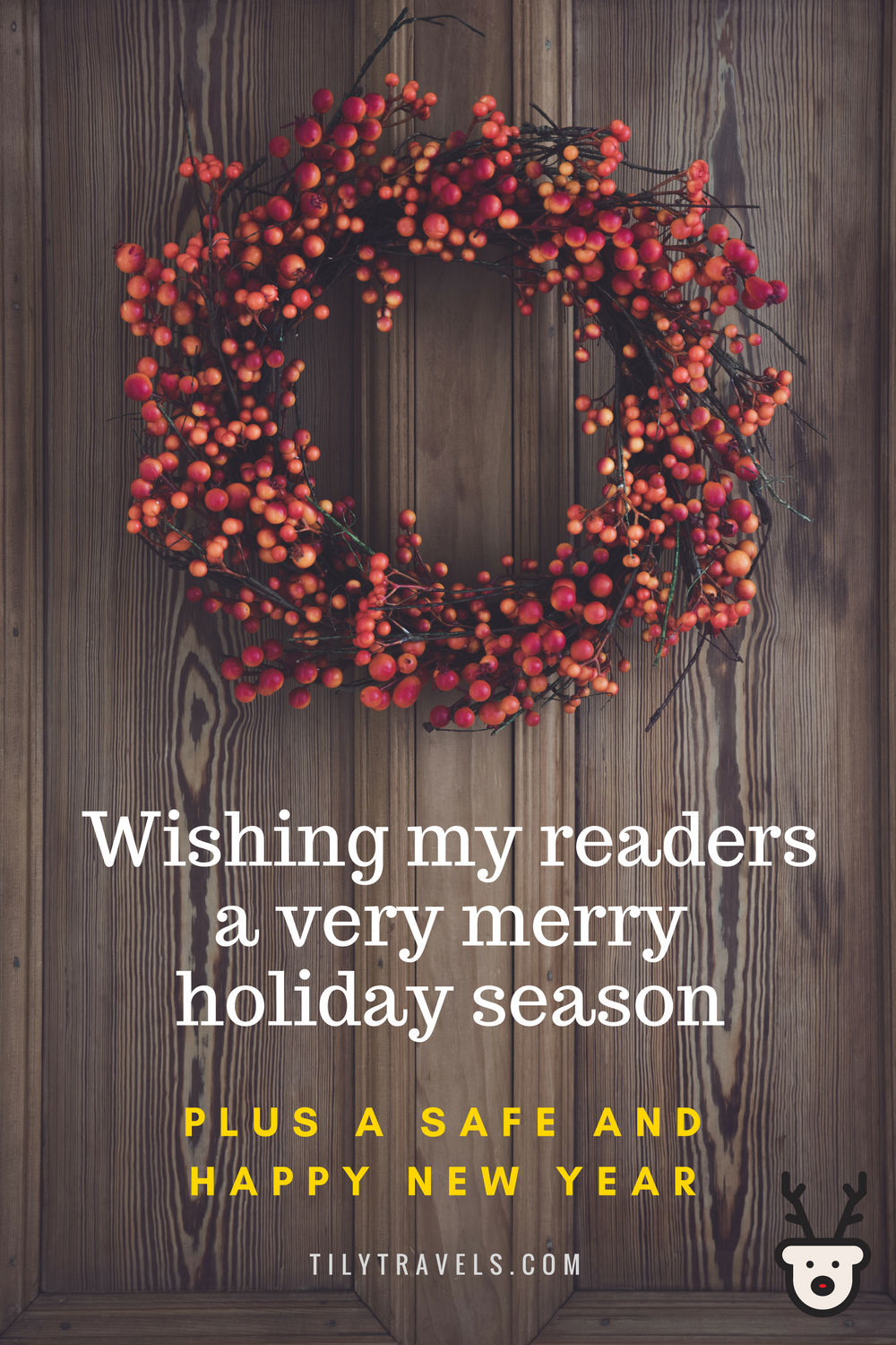 Wishing my readers a very merry holiday season, plus a safe and happy new year.