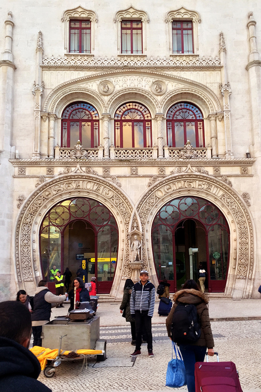 The Neo-Manueline facade and grand entrance of Rossio Train Station - Pombaline-Baixa, Lisbon - Portugal.