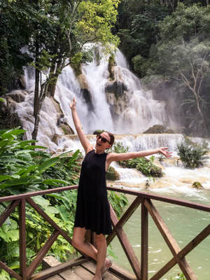 Portrait in Laos at Kuang Si waterfalls. About me section.