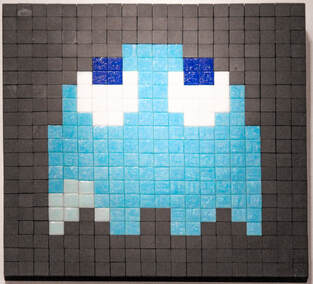 Singapore: Art From The Streets Exhibition at the ArtScience Museum - Blinky Blue - Invader - 2001.