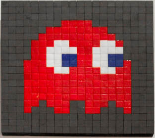 Singapore: Art From The Streets Exhibition at the ArtScience Museum - Blinky Red - Invader - 2001.