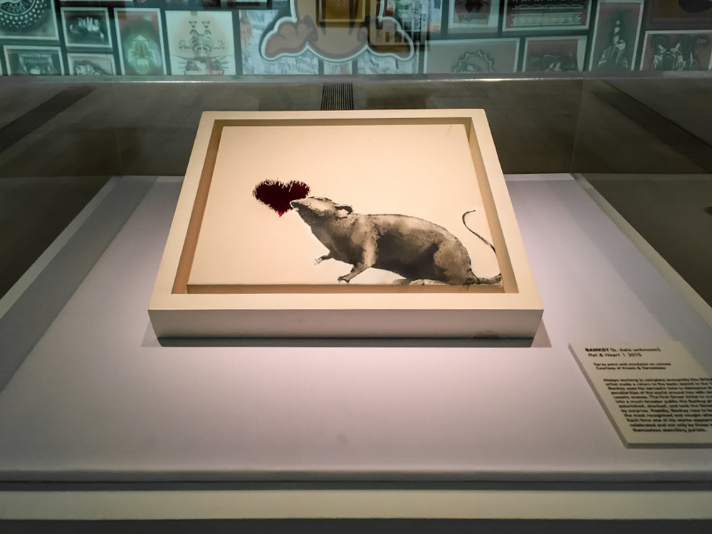Singapore: Art From The Streets Exhibition at the ArtScience Museum - Rat and Heart - Banksy - 2015.