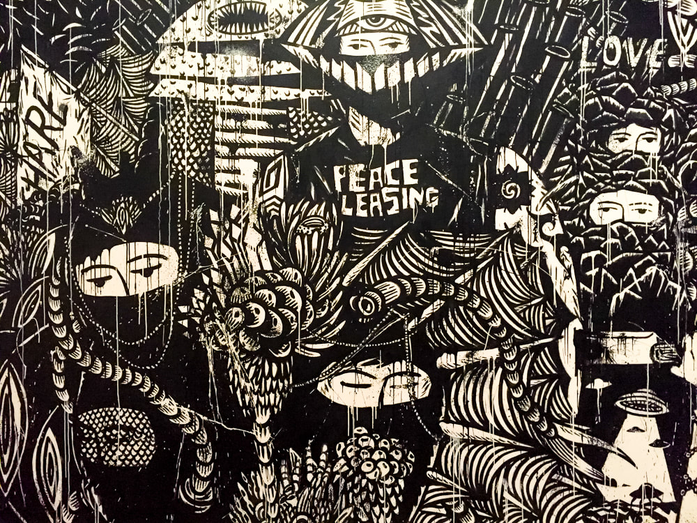 Singapore: Art From The Streets Exhibition at the ArtScience Museum - Detail of Garden Full of Blooming Democracy - Eko Nugroho - 2018.